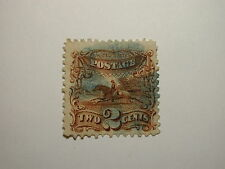 US Stamp Scott #113 Pictorial Issue 1869 2 Cent, Blue Fancy Cancel, Good Colo…