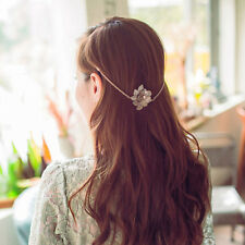 Women Fashion Flower Hair Chain Jewelry Headband Head Piece Head Band Gold