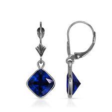 Square Bezel Blue Sapphire Drop Dangle Leverback Earrings 14K White Gold