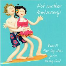Doesn't Time Fly.. Wedding Anniversary Card, from the One Lump or Two Collection