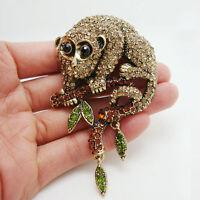 Unique Animal Monkey Brown Rhinestone Crystal Gold-tone Brooch Pin