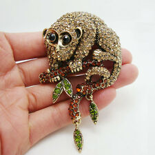 Unique Animal Monkey Brown Rhinestone Crystal Gold-plated Brooch Pin