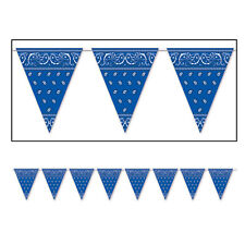 Blue Cowboy Bandana Print Western Square Dance Party Bunting Flag Banner!