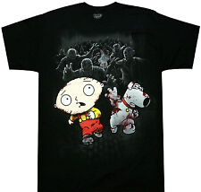 Family Guy Zombie Escape Adult T-shirt - Griffin Family Stewie Brian Peter Lois