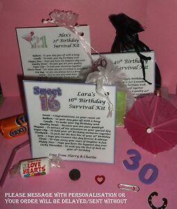 13th 16th 18th 21st...ETC Personalised Keepsake Birthday Gift Survival Kit Bag
