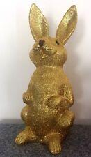 XL BRILLO ORO Conejo de Pascua 48cm Entrada Decoración Primavera LUJO DESVÁN