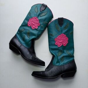 Nine West Cowboy Boots Womens Black Teal Leather Pink Embroidered Rose Pullon
