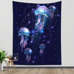 Fantasy Magic Jellyfish Tapestry Starry Sky Wall Hanging Home Bedspread Cover