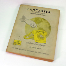 Vintage 1959 Lancaster PA Bell Telephone Phone Book Directory & Yellow Pages