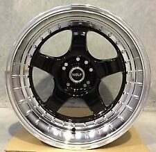 WOLF S1P WHEELS 18x10 4x114.3 5x114.3 +15 (PAIR)  fitments to work on most cars!