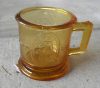 "Antique Small American Pattern Glass Mug with Mom and Angel Girl 2 1/2"" T Look"