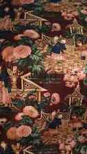 A.L.DIAMENT & CO ASIAN HAND PRINT FABRIC BROWN FLORAL WOW 5 3/4Y POLISHED COTTON