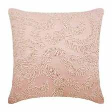 """Throw Pillow Silk 12""""x12"""" Designer Pink, Floral Ivy Pearl Beaded - Love Note"""