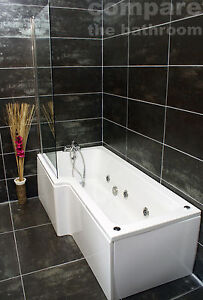 L Shape Whirlpool Shower Bath Jacuzzi Style Jets with Square Bath Screen Chrome