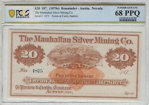 1870 $20 AUSTIN NEVADA MANHATTAN SILVER MINING CO OBSOLETE NOTE PCGS B 68 PPQ