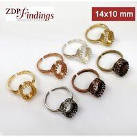 4pcs Oval 14x10mm Quality Cast Bezel Ring Base Blanks Setting Shiny Gold Plated