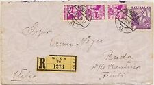 AUSTRIA OSTERREICH BUSTA REGISTERED 1935 TO VILLA VICENTINA ITALY - 4 STAMPS