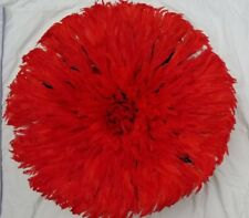 25' Dim Juju-Hat Feather Bamileke/Cameroon African Art_ Red Color