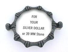 Silver Dollar OR 39mm Round Cabochon Cab Gem Pewter Bolo Bola Tie Mounting CF18