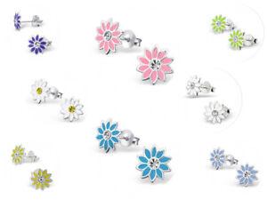 Childrens Girls 925 Sterling Silver Flower Stud Earrings - Pink Blue Purple