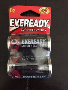 Ever Ready D2 Batteries 2 in All Carbon Zinc Batteries Fast Ship