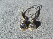 14k Yellow Gold And Crystal Dangle Pierced Earrings 1.7g