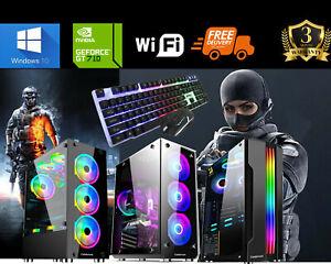 Fast Gaming PC Computer Bundle Intel Core i7 16GB 1TB 256GB SSD Win10 GT730 WiFi