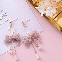 Fashion Earrings Sweet Cute Lace Bow-knot Tassel Pearl Drop Dangle Earrings New