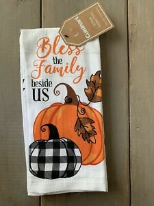 """CUISINART 2 PACK KITCHEN TOWELS Fall """"Bless the Family Beside Us"""" Thanksgiving"""