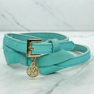 Lilly Pulitzer Aqua Bow Ribbon Rhinestone Charm Belt Size XS Small S 28