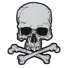 "Motorcycle Biker Uniform Back Patch 10"" X 12"" Reflective Crossbones Skull Bones"