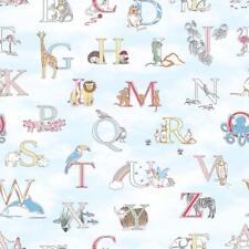G56537 - Just 4 Enfants 2 Lettres, Animaux Bleu Galerie Papier Peint