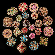 24pc Vintage Brooch Lot Mixed Alloy Rhinestone Crystal Pins Wedding Bouquet DIY