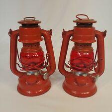 "2-Vintage Light Red Winged Wheel No. 350 Lantern 7"" Made in Japan"