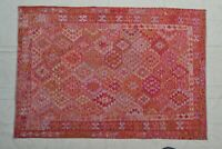 9'9 x 6'8 Pink Handwoven Afghan Tribal Kilim Carpet Rug Wool Kelim Area Rug 9177