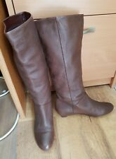 Carvela-soft brown pebble leather knee high boots UK 5 pull on +wedge heel