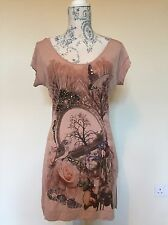 KAREN MILLEN T-shirt / Dress Dusky Pink Woodland Print Size 10 BNWT