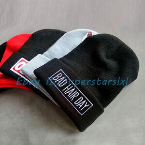 Men's Women's Fashion Cuffed Beanie Skull Cap BAD HAIR DAY Hip Hop Beanie Hats