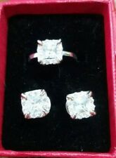 Mariellasgem - NEW  DIAMOND RING and EARRING  in FINE SILVER des 7