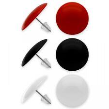 3 Paar Ohrringe in rot schwarz weiß runde Ohrstecker Damen Mädchen Edelstahl