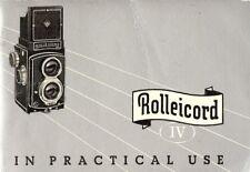 1953 ROLLEICORD IV TWIN REFLEX CAMERA INSTRUCTION MANUAL -ROLLEI