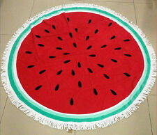 100% Cotton Printed Round Beach Towel With Tassels Watermelon Pattern