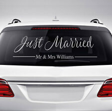 Personalised Custom Wedding Car Window Just Married Sticker Decal Accessory