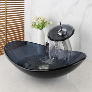 Waterfall Glass Basin Faucet Combine Brass Faucet Mixer Tap Round Washbasin