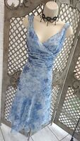 🌹LA BOUTIQUE 🌹 BLUE FLORAL SHEER FLOATY LAYERED OCCASION DRESS UK 12 WEDDING