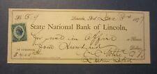 Old 1877 - State National Bank of LINCOLN NEBRASKA - BANK CHECK - Revenue Stamp