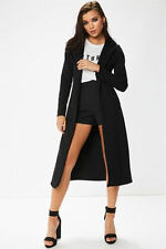 WOMENS LADIES LONG SLEEVE WATERFALL MAXI COLLARED DUSTER BLAZER JACKET COAT TOP