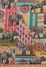 Cotton Elephants Floral Animal Flowers Orient Cotton Fabric Print BTY D566.71