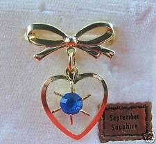 Vintage Blue Rhinestone Heart Charm Pin Cat Rescue