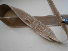 UK MADE TAN GENUINE SUEDE LEATHER COMFY ACOUSTIC, ELECTRIC OR BASS GUITAR STRAP
